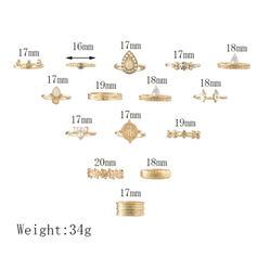 Único Exquisite Elegante Liga Conjuntos de jóias Anéis (Conjunto de 15 pares)