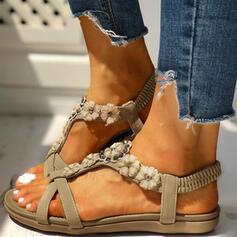 Women's PU Flat Heel Sandals Peep Toe With Rhinestone Flower shoes