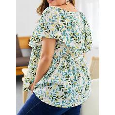Estampado Floral Gola Quadrada Manga Curta Casual Elegante Tamanho positivo Blusas