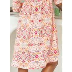 Print/Floral 1/2 Sleeves Shift Above Knee Casual/Boho/Vacation Tunic Dresses