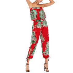 Floral Print Strapless Sleeveless Casual Boho Vacation Jumpsuit