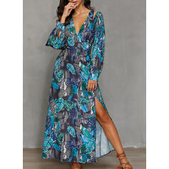 Print Long Sleeves A-line Casual/Vacation Maxi Dresses