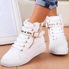 De mujer PU Tacón plano Botas con Rivet Cremallera Cordones Color sólido zapatos