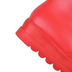 Couro Salto baixo Plataforma Bota em cima do joelho com Bowknot Pele sapatos