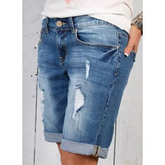 Patchwork Pockets Shirred Above Knee Casual Sporty Denim Shorts Denim & Jeans