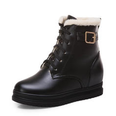 Femmes Similicuir Talon plat Plateforme Bottes Bottes neige avec Dentelle chaussures