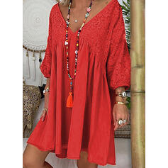 Lace/Solid Long Sleeves Shift Knee Length Casual/Elegant Dresses
