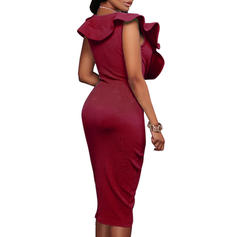 Solid Sleeveless Bodycon Knee Length Sexy/Party Dresses