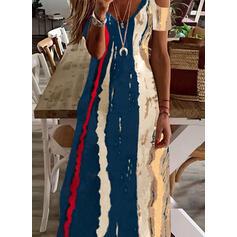Impresión Manga Corta manga de hombros fríos Vestidos sueltos Casual Maxi Vestidos