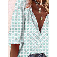 Stampa Scollatura a V Maniche a 3/4 Bottone Casuale Shirt and Blouses