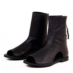 Frauen PVC PU Flascher Absatz Sandalen Flache Schuhe Peep Toe mit Reißverschluss Schuhe