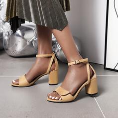 Mulheres PU Salto robusto Bombas com Fivela sapatos