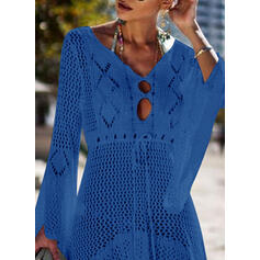 Solid Long Sleeves A-line Asymmetrical Casual/Vacation Dresses