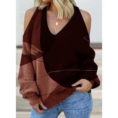 Print Kleurblok Cold Shoulder Lange Mouwen Casual Overhemd