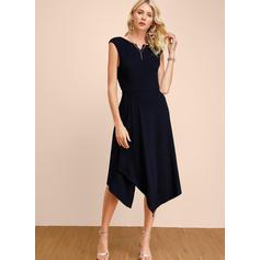 Solid Sleeveless A-line Midi Party/Elegant Dresses