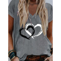 Serce Nadruk Dekolt w kształcie litery V Krótkie rękawy T-shirty
