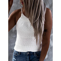 Solid Spaghetti Strap Sleeveless Casual Sexy Knit Tank Tops