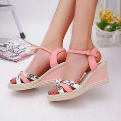 Frauen PU Keil Absatz Sandalen Peep Toe mit Schnalle Schuhe
