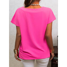 Solid V-Neck Short Sleeves Casual Basic Blouses