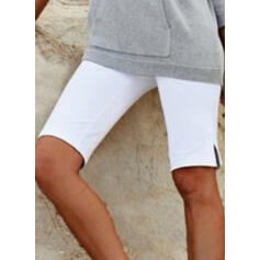 Solid Plus Size Knee-length Casual Shorts