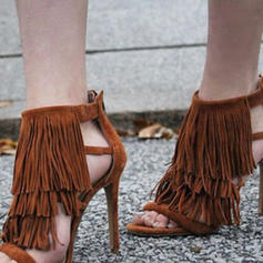 Women's PU Stiletto Heel Sandals Pumps With Tassel shoes