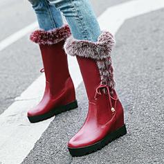 Femmes PU Talon bottier Chaussures plates Plateforme Compensée Bottes hautes avec Dentelle Fausse Fourrure chaussures
