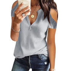 Solid Cold Shoulder Short Sleeves Casual Knit T-shirts