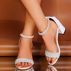 Femmes PU Talon stiletto Sandales À bout ouvert avec Perle d'imitation chaussures