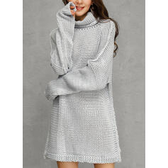 Solid Turtleneck Casual Long Loose Sweater Dress
