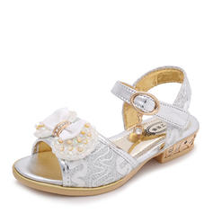Girl's Leatherette Flat Heel Peep Toe Sandals Flats Flower Girl Shoes With Beading Bowknot
