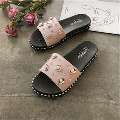 Women's PVC Flat Heel Slippers With Rhinestone shoes