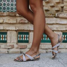 Női PU Lapos sarok Szandál Peep Toe -Val Hegyikristály Csat cipő