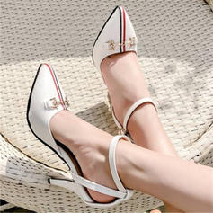 Women's Microfiber Leather Stiletto Heel Sandals Pumps Closed Toe With Others shoes
