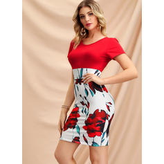 Print/Floral Short Sleeves Bodycon Above Knee Casual/Elegant Dresses