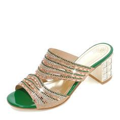 Femmes Pailletes scintillantes Talon bottier Sandales Escarpins À bout ouvert Escarpins Chaussons avec Strass chaussures