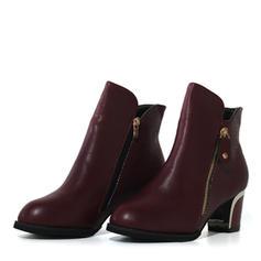 Women's PU Chunky Heel Pumps Boots With Zipper shoes