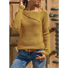 Solid Ribbed Boat Neck Sweaters