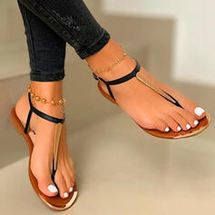 Women's PU Flat Heel Sandals Flip-Flops With Hollow-out Splice Color shoes