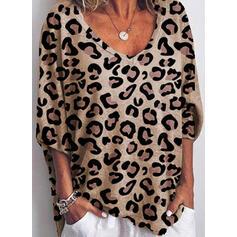 Dierenprint V-hals 3/4 Mouwen Casual T-shirts