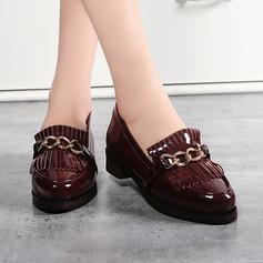 Femmes Cuir verni Talon plat Chaussures plates Bout fermé avec Tassel chaussures