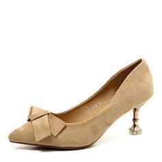 Femmes Similicuir Talon bobine Escarpins Bout fermé avec Bowknot chaussures