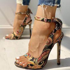 De mujer Tejido Tacón stilettos Sandalias Salón Encaje con Bowknot Hebilla zapatos