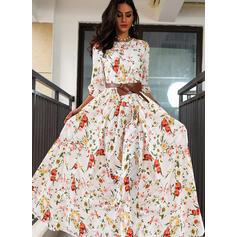 Print/Floral 3/4 Sleeves A-line Skater Elegant Maxi Dresses