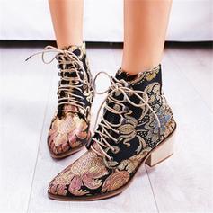 Frauen PU Stämmiger Absatz Absatzschuhe Stiefel mit Zuschnüren Schuhe