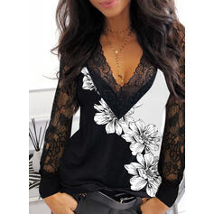Print Floral Lace V-Neck Long Sleeves Elegant Blouses