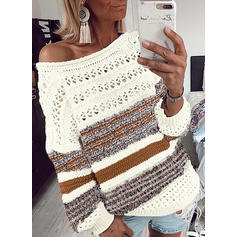 Print Color Block One Shoulder Casual Sweaters