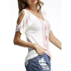Drucken Kalte Schulter Ärmellos Freizeit T-shirts