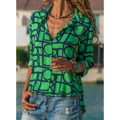 Geometric Print Lapel Long Sleeves Button Up Shirt Blouses