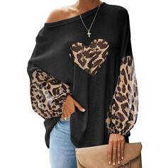 Stampa leopardo Una spalla Maniche lunghe Casuale Camicie