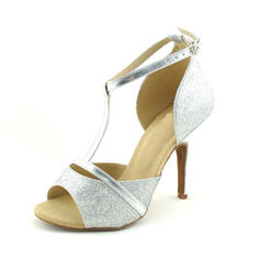 Women's Latin Heels Sandals Sparkling Glitter With T-Strap Latin